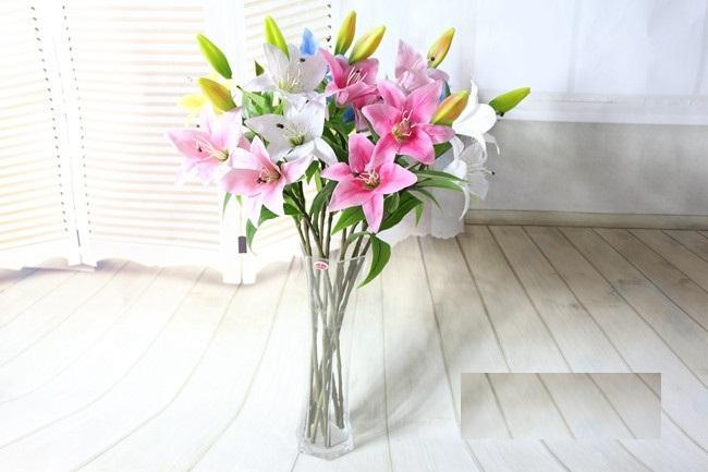 Todos los tipos de alto grado PU la venta de flor de simulación de suministro al por mayor súper realista lirio siento muy PU flores artificiales
