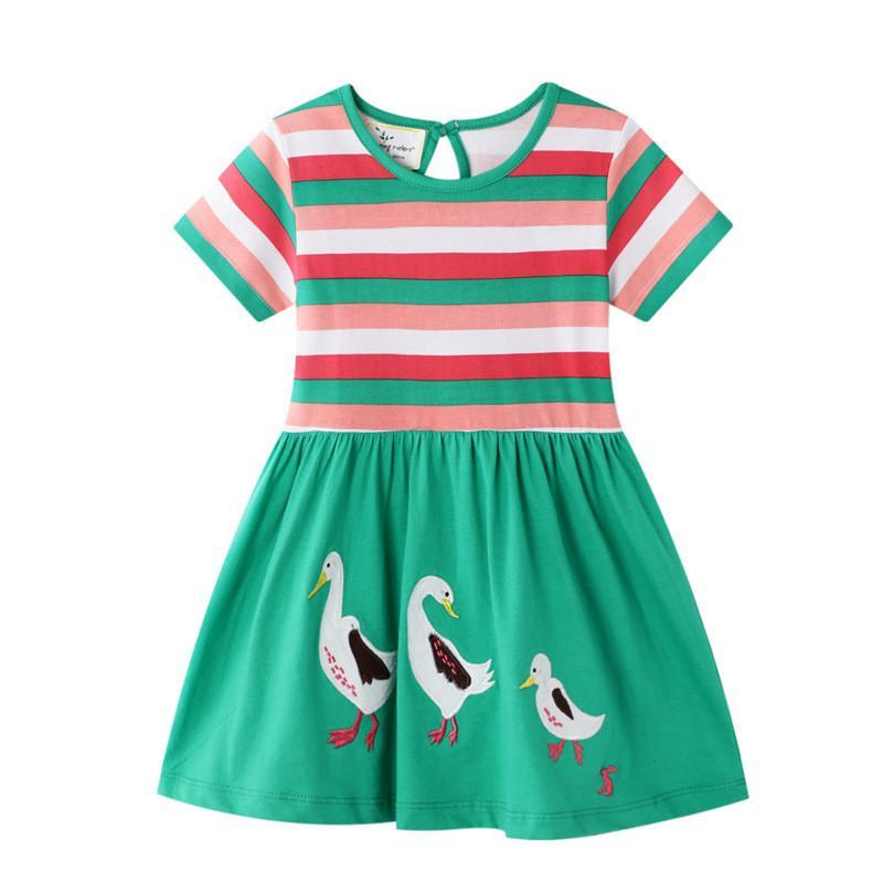Springen Meter Neue Tiere Applikationen Prinzessin nette Mädchen Kleider Baumwollbaby-Kleidungs-Partei-Schule-Kind-Sommer-Streifen-Kleid