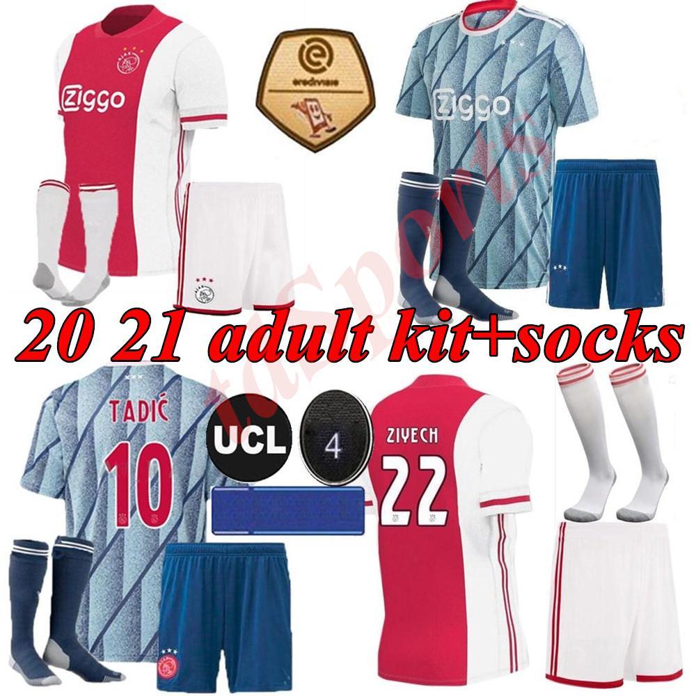 20 개 21 아약스 멀리 축구 유니폼 PROMES 알바 레즈 아약스 암스테르담 2020 2021 축구 셔츠 VAN DE 크는 타 디치 ZIYECH MEN 키트 유니폼