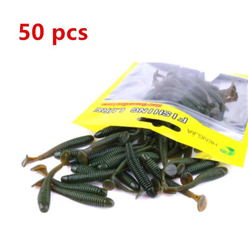 50PCS Pesca esche Soft artificiale esca per pesca 5CM 0.6G Swimbait Muliti Colori esche silicone Un sacchetto Wobbler Lure Mini