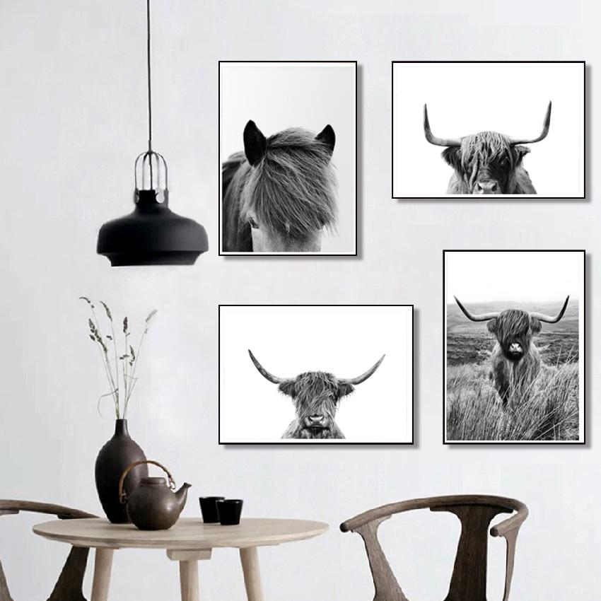 Black and White Highland Cow Print Farmhouse Decor Wall Art Canvas Painting Animal Large Posters Living Room Bedroom Pictures