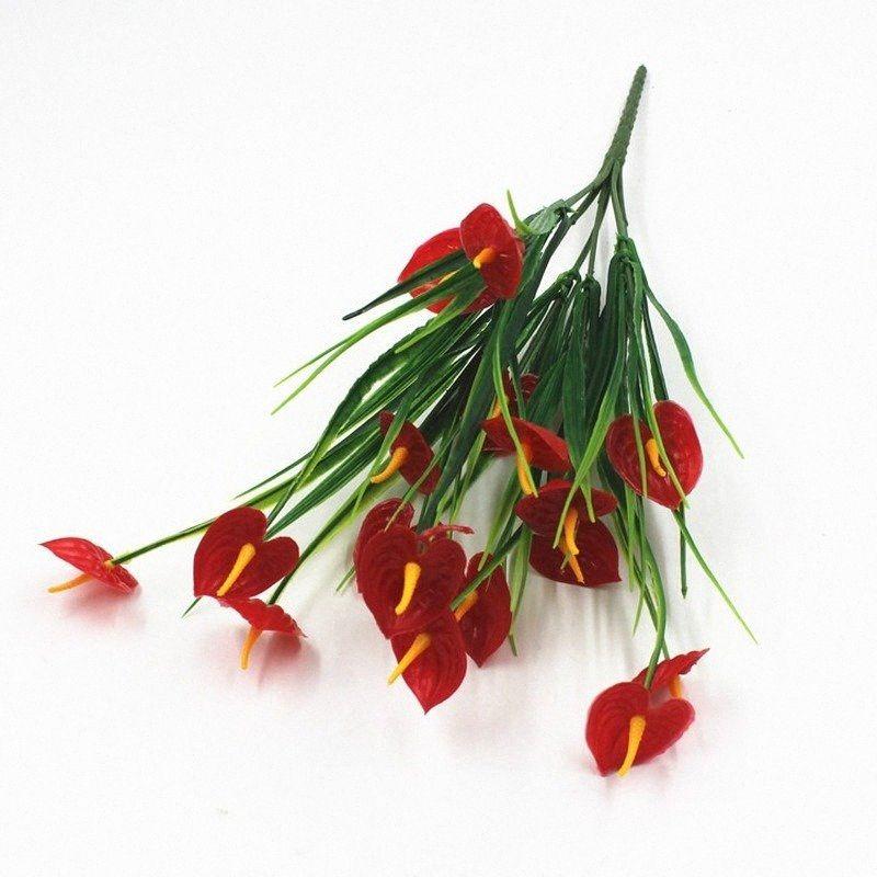 7 Forks Anthurium artificial Planta verde Tiesto la decoración del hogar Jardín césped artificial falsos Plantas Flores 1wGV #