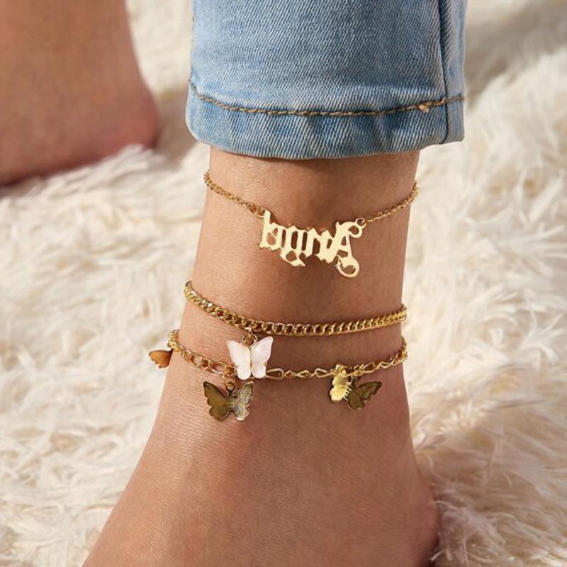 3шт / набор бабочка Женщина цепь ножного браслета ножные Sexy Босиком Сандал Пляж ноги Цепь Браслет для леди партии ювелирных изделий подарка