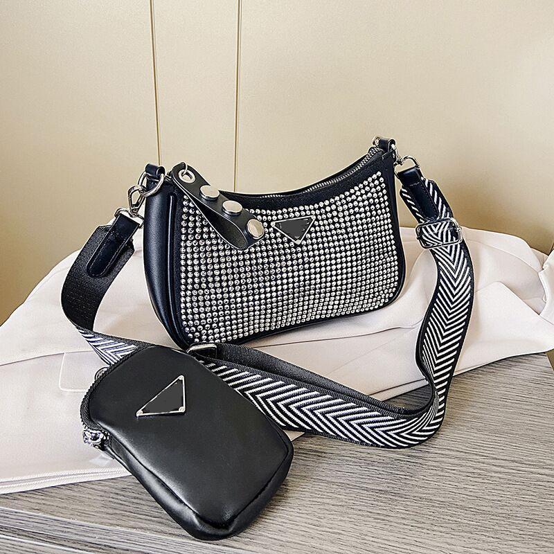 Leder luggage2020 neue Damen Ledertasche mit großen Namen und weise Rhinestone Achsel bagbild und Mutter Schulter Umhängetasche Brieftasche Handtasche