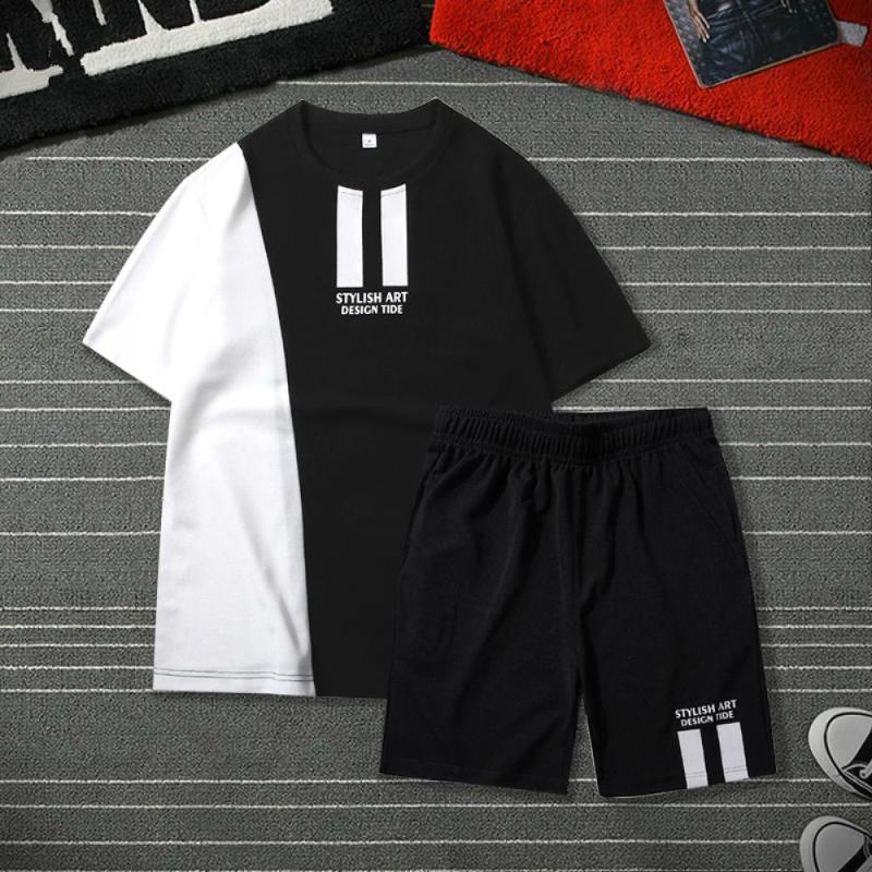 Patchwork Men Tracksuit Set T Shirt Summer Two Pieces Sporting Track Suit T-shirts Sets Printed Tops Shorts Set Mens Track Suit