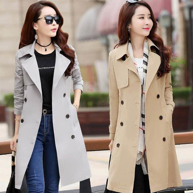 La tranchée des femmes coupe-vent long style coréen 2019 Automne Nouveau manteau de manteau mince