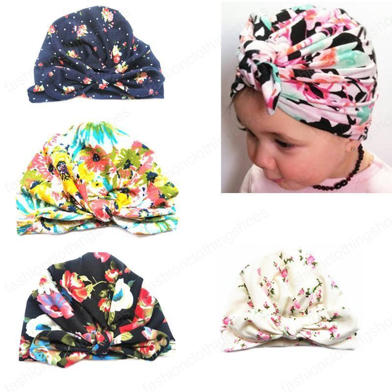 2020 Bebek Bebek Çocuk Beanie Çiçek Baskı Tavşan Kulak Caps Kulaklar Kapak Şapka Hindistan Şapkalar Avrupa Stili Turban Knot Baş sarar
