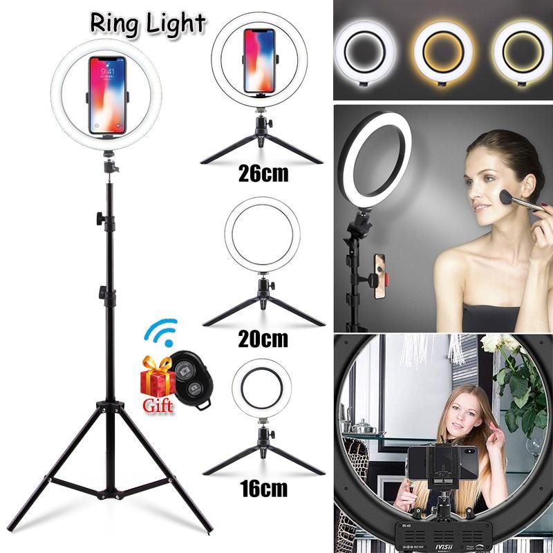Fábrica 16 centímetros / 20cm / 26 centímetros anel de luz de preenchimento LampTripod para selfie Fotografia Vlog Live Streaming Video Camera Beleza