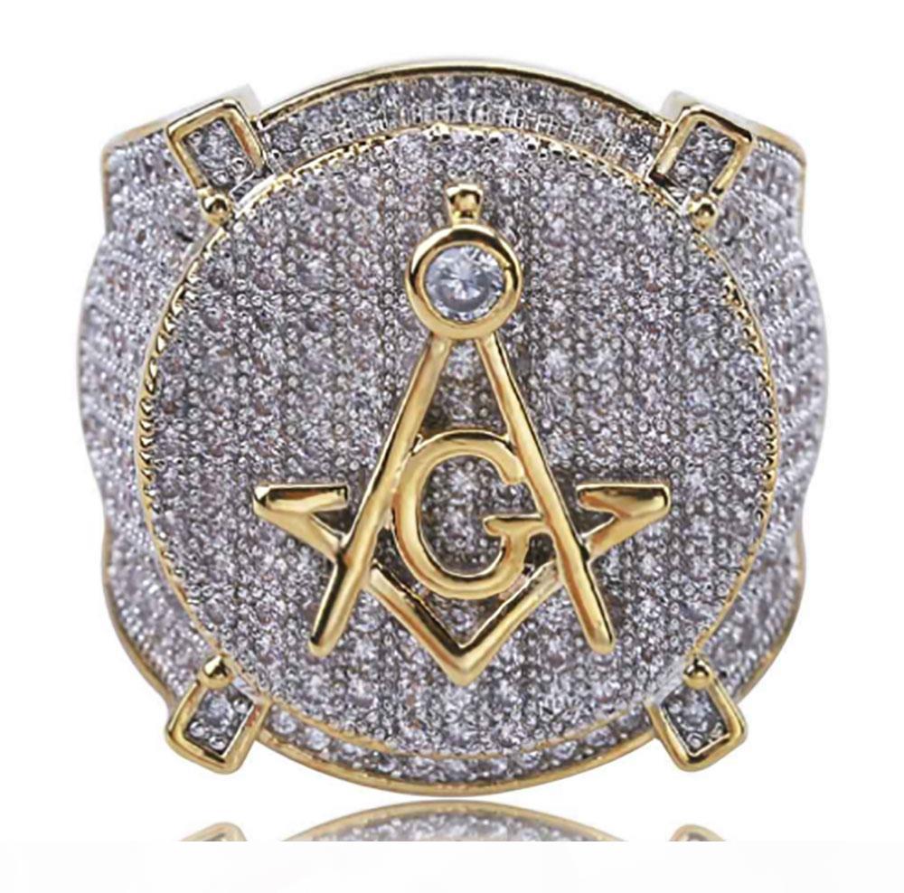 الهيب هوب الفاخرة الماسوني رمز ماسوني خواتم رجالي مايكرو تمهيد زركون بلينغ بلينغ مقلد الماس 18K الذهب خاتم مطلي