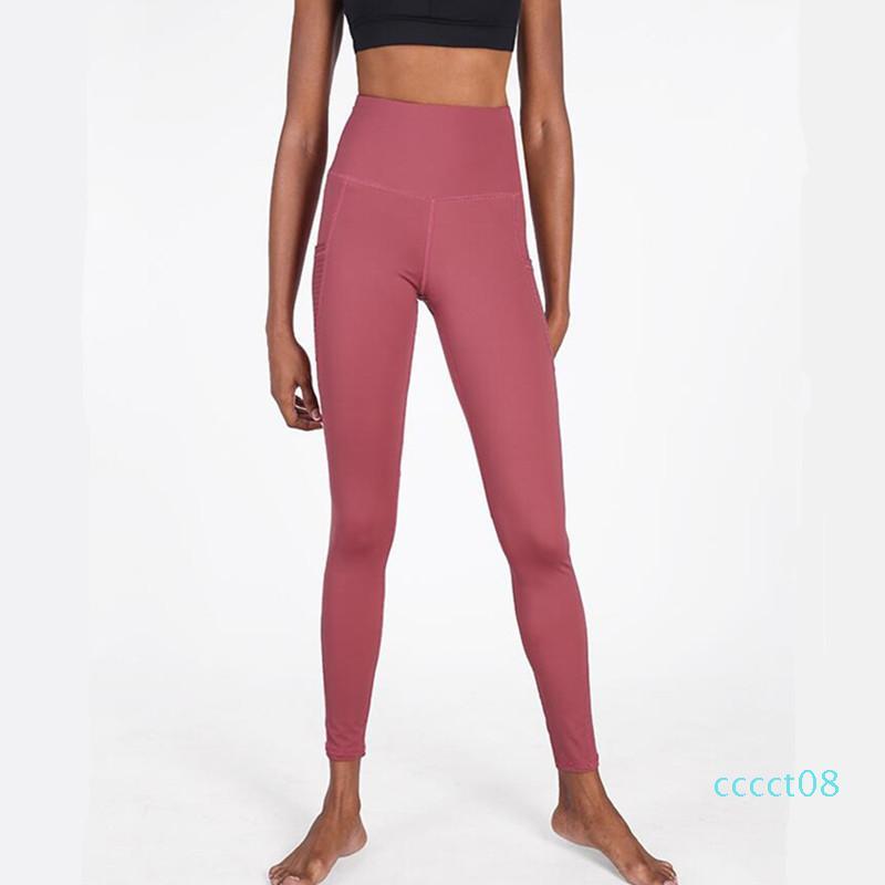 CretKoav Yoga Pant Verão Fina Estilo Sports Leggings para as Mulheres da aptidão cintura alta Side Pocket respirável apertado Correndo Legging ct08