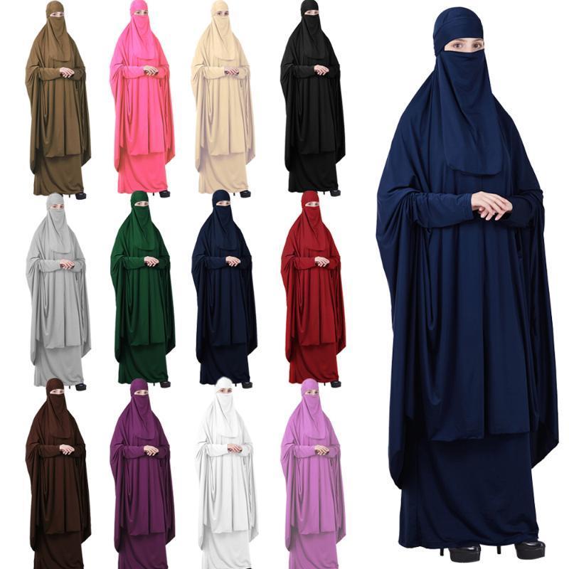 Islamische Muslime Gebet Kleidungsstück Frauen Hijab Abaya Niqab Burqa Jilbab Schleier Full Cover Kleid Overhead Robe Kaftan Khimar
