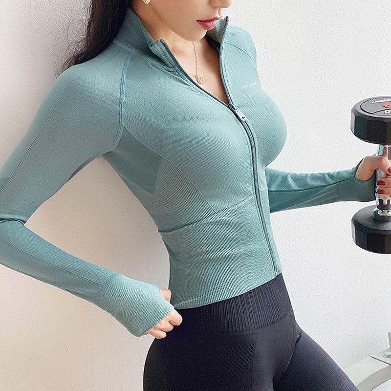 Herbst nahtlose Sport-Mantel-Frauen Laufjacke Langarm Zipper Fitness Trainingsjacke Elastic Enge Gym Kleidung Yoga Tops