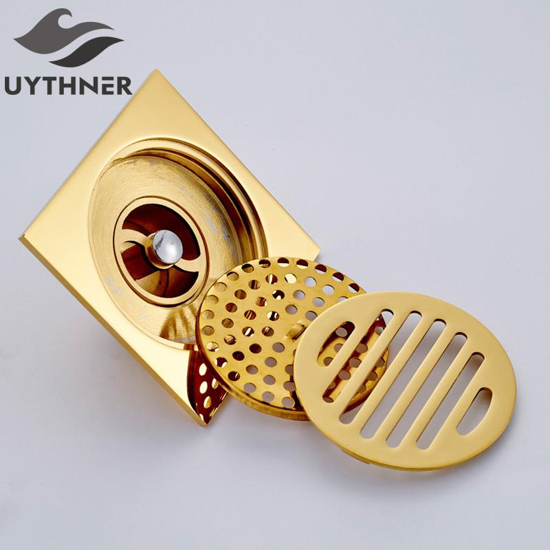 Uythner Bañera Suelo de drenaje 10 * 10 cm Oro baño de ducha cuadrado drenaje del filtro de venta directa de fábrica de baño del piso del dren T200715