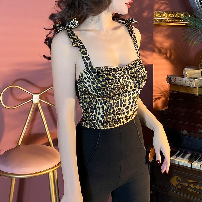 2020 Nuevo Estilo INS estampado leopardo del cortocircuito del satén de Camis Crop Top atractivo de las mujeres High Street Todo-fósforo Ropa para Mujer Leve elástico