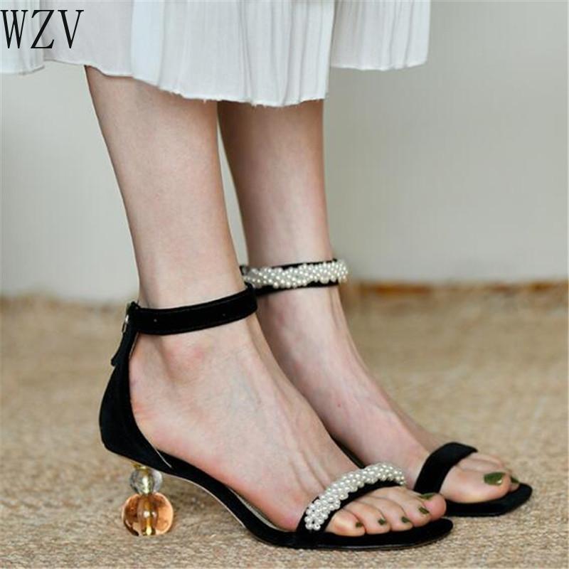 Fermuar Yüksek Topuk Sandalet Kadınlar Tasarımcı Ayakkabı H815 sonra Yaz Kadın Sandalet Vintage İnci Açık Burun Yüksek Topuklar