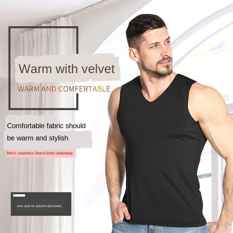 quente dos homens outono e inverno de veludo com decote em V respirável de base perfeita fina quente colete colete para os homens