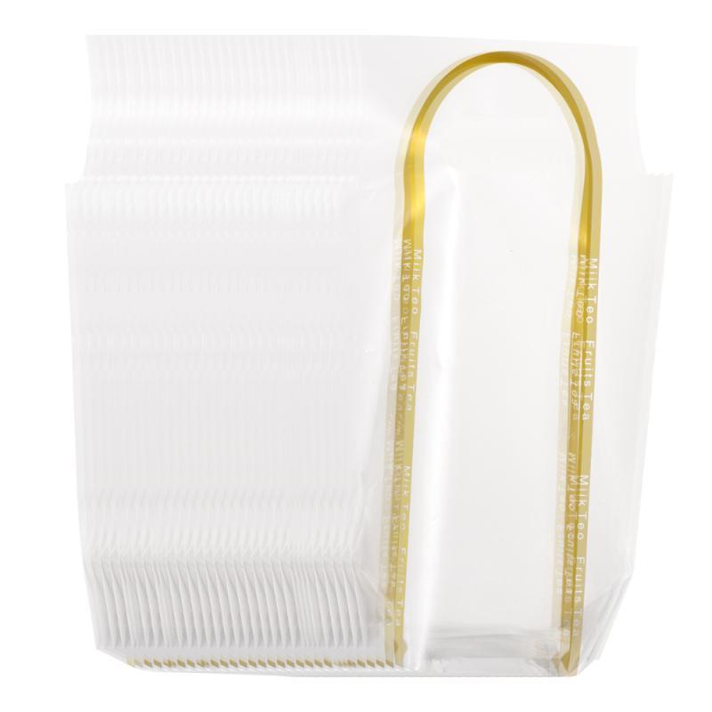 50pcs Milk Takeout Jetable PE transparent boissons Café à emporter sacs à main sacs de sacs de sacs de sacs de sacs de sacs de sacs à sacs à main (Single Cup Edge) - Sacs d'or XSIMC