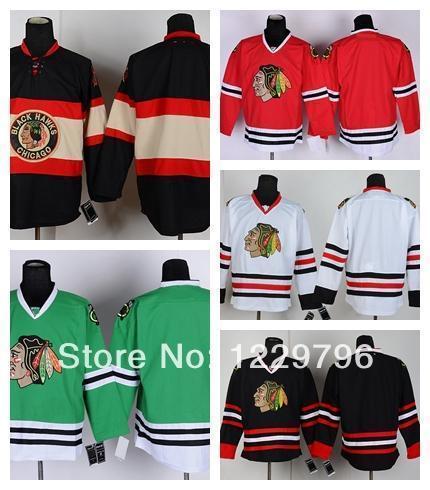 Chicago Chicago Blackhawks Hóquei Jerseys em branco Home Road Road Branco Terceiro Preto Verde Creme de Inverno Cheap Cheap Stitched Jerseys China