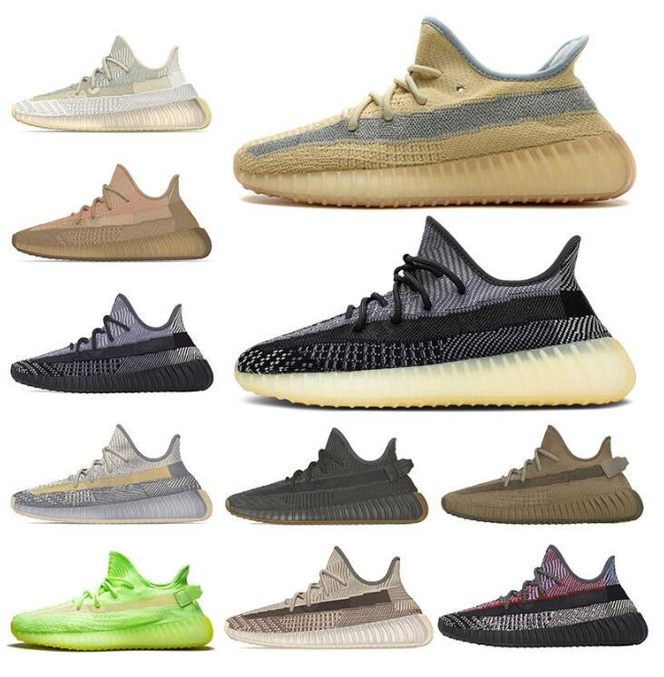 Running Shoes estática mantequilla de sésamo GID Glow In The Dark barro negro tinte azul semi cebra Crema Triple Formadores Kanye zapatillas de deporte 36-47