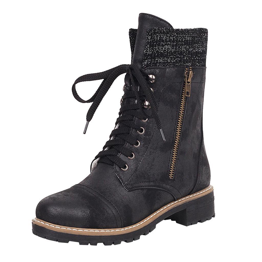 Cálido antideslizantes botas de vaquero muchachas que montan nieve botas de moto botas para damas con cordones de los zapatos de estilo europeo de las señoras de las mujeres