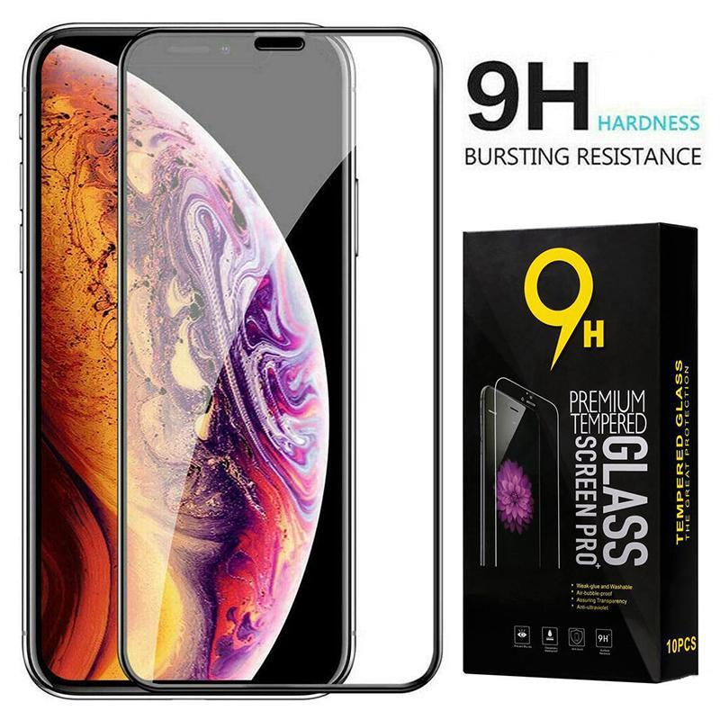 Vetro temperato curvo Full Coverage della protezione dello schermo della pellicola della protezione per iPhone 12 Mini 11 Pro Max XS XR X 8 7 6 6S Plus SE 2020 con la scatola di vendita al dettaglio