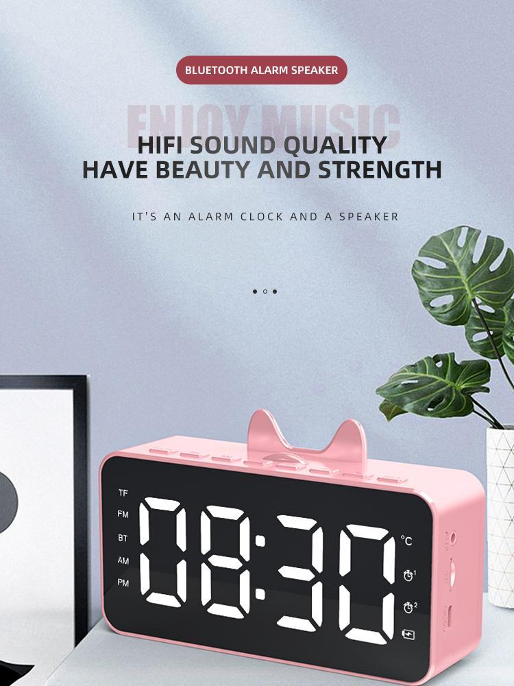 5pcs Bluetooth 5.0 Speaker Portable Wireless Clock Mirror Sound System Stereo Music Surround Support TF AUX FM Radio Music Player ZY-Q9