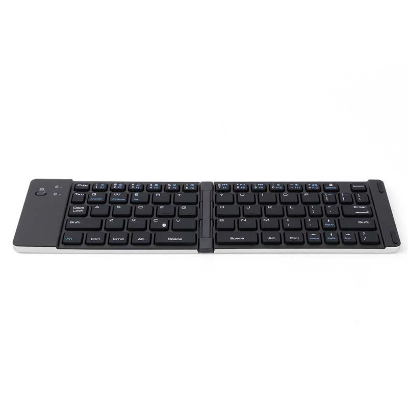 Caliente F66 producto Mini teclado inalámbrico Bluetooth plegable portátil ultra delgada de aluminio plegable Meterial teclado Soporte Android / iOS