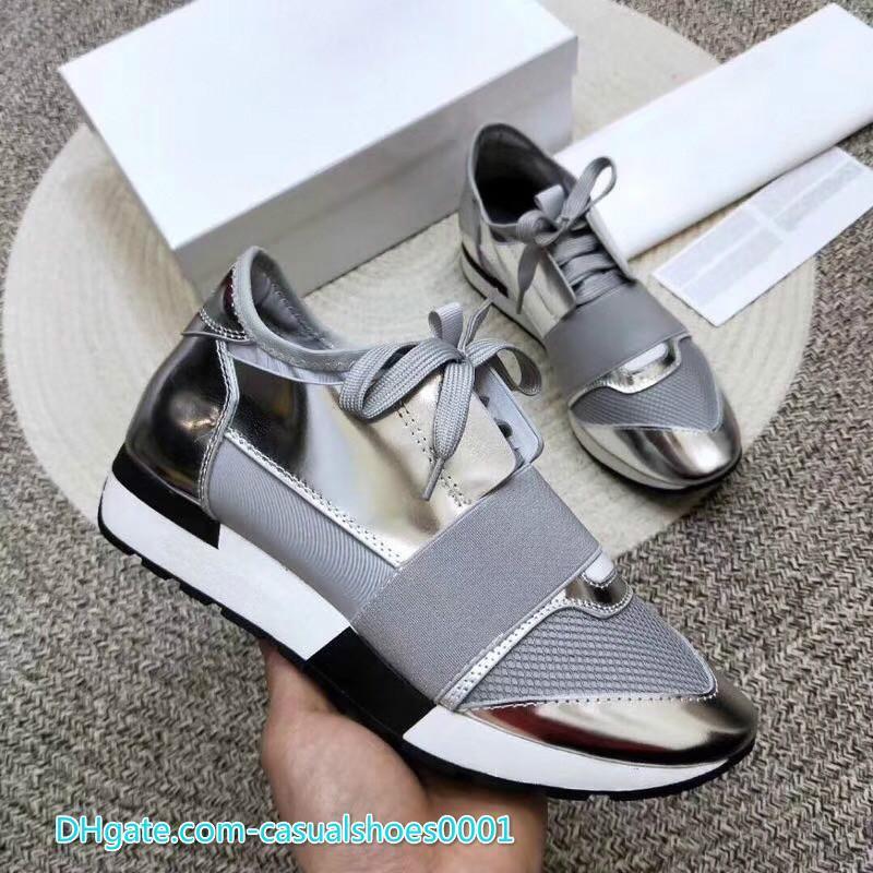 Moda de luxo Designer Sneaker Homem Mulher Casual Sapatos de couro genuíno Malha Corrida pontas Runner Shoe Ar Livre Trainers US5-12 vc0120