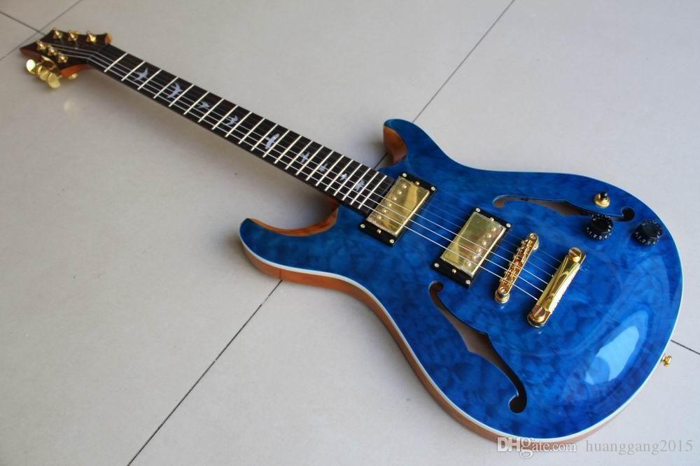 Großhandel 6 Strings Cnbald kundenspezifische elektrische Gitarren-halb hohle in blau Burst-freies Verschiffen 120308