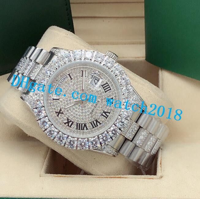 الفاخرة ووتش رجل الثاني 43 ملليمتر 228349 116300 كامل مثلج كامل مقابل أكبر الماس ووتش التلقائي أزياء الرجال الساعات ساعة اليد