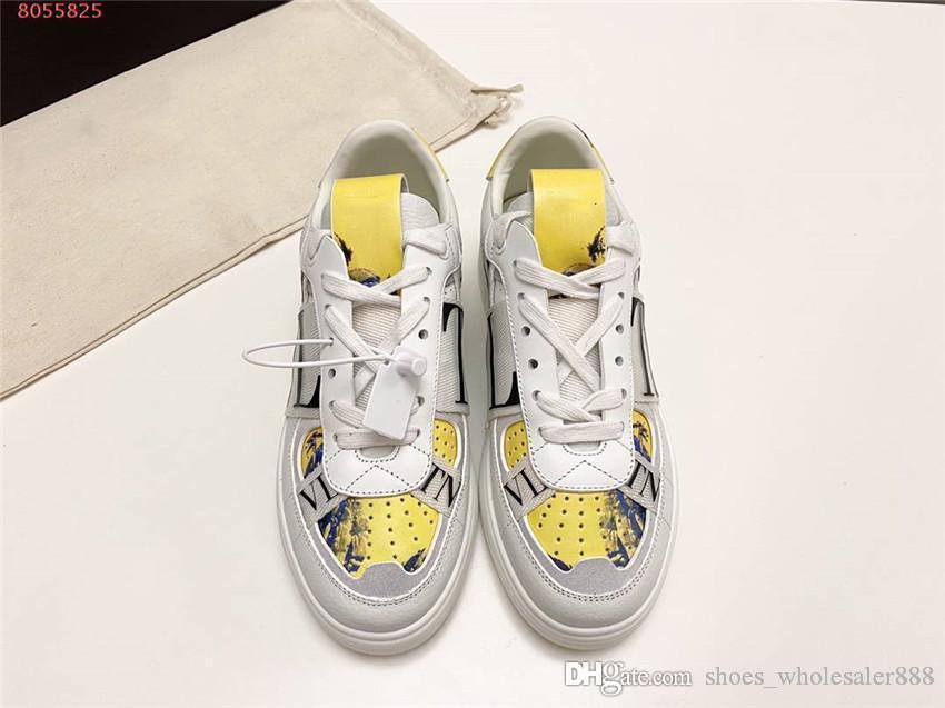 Sapatos novos athleisure para homens e mulheres, couro impressão de cor respirável sola de borracha anti-derrapante, sapatos baixos