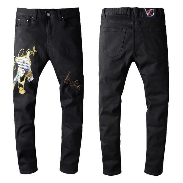 Neue hochwertige gestickte Männer dünne schwarze cooler Typ beunruhigte Jeans Designer dünne Jeans Gerade geschnittene kriminellen Designer ist Joggen