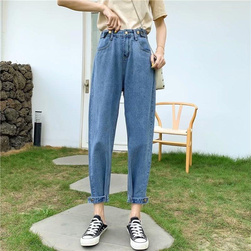 Altura de la cintura de los pantalones vaqueros pantalones vaqueros y de nabo rábano sueltos 2020 nueva alta delgada del todo-fósforo pantalones de las mujeres de nabo rábano pierna ancha Harlan pantalones papá