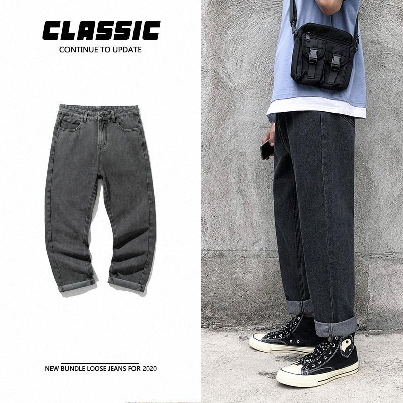 Прямые джинсы Мужская мода Омывается сплошной цвет ретро джинсы штаны мужчин Streetwear Дикий Сыпучие Повседневный Denim Брюки мужские M-2XL VP9H #