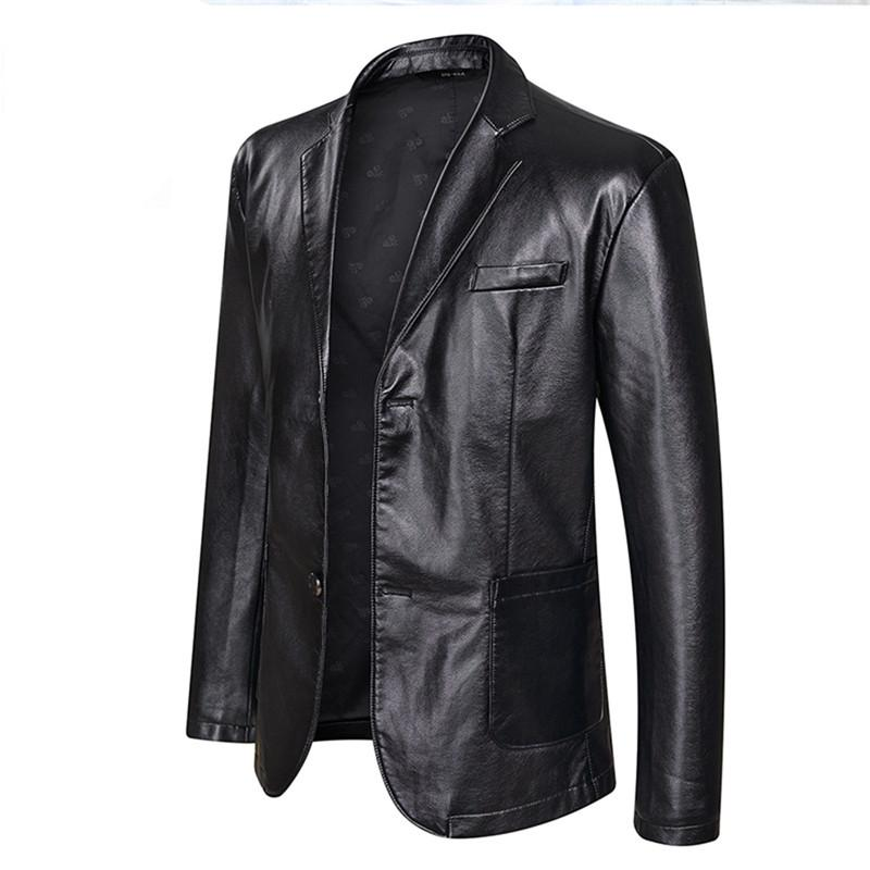Men's single-breasted blazer, faux leather motorcycle jacket, PU jacket casual business clothes (oversized plus size)