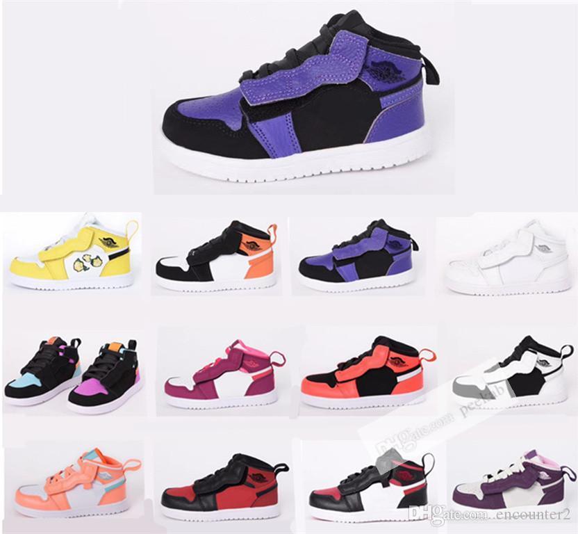 новые ботинки младенца 1S Дети I Баскетбол обувь игры Royal Чикаго Бред многоцветные детей Sneaker мальчиков девочки спортивная обувь подарок ребенку 22-35