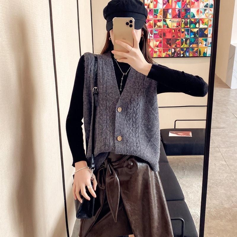 Kore tarzı Üst Kat yünlü kadın sonbahar Yeni gevşek dış giyim V yaka kolsuz örme üst Yelek Yelek yelek yelek