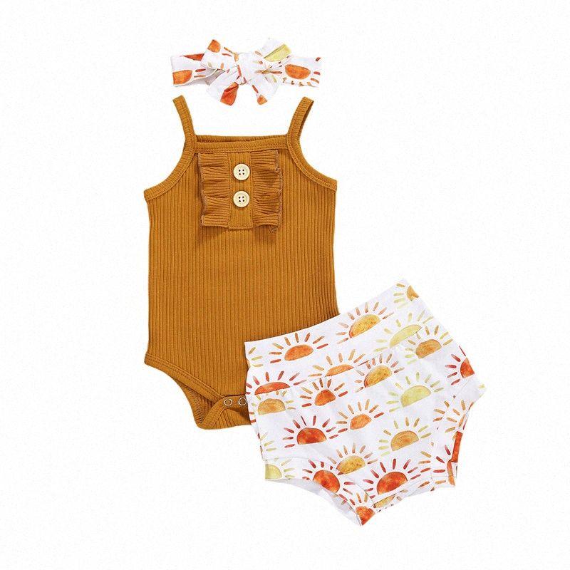 0-18M Cute Newborn Baby Girls Summer Clothes Ruffles Button Rompers Tops+Print High Waist Shorts+Headband Toddler Infant Outfits aPia#