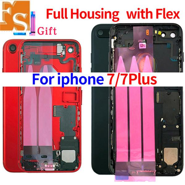 20Pcs for iPhone 7G 7 Plus Full Housing With Flex Middle Frame Panel Cover Full Back Battery Door + Logo + small parts Flex Cable