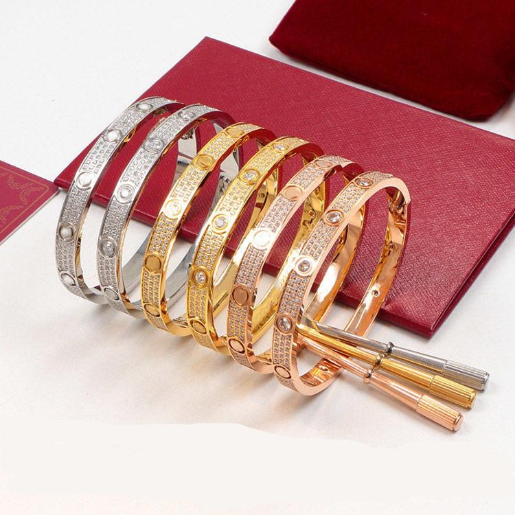 2020 New Lover bracelets with full CZ diamond silver rose gold bangle with screwdriver Bracelet for lovers Jewelry