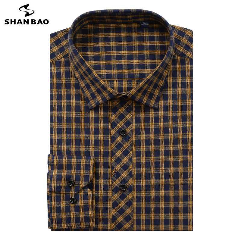 Shan BAO marka erkek gömleği 6XL XL 8XL 9XL 10XL boy boy 2020 sonbahar kış kalın ekose gençlik moda rahat gevşek gömlek