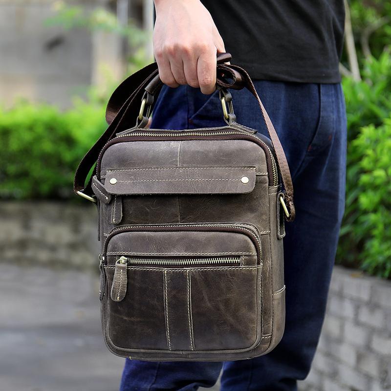 Sommer Herren Leder Freizeit Solid Grey Handtasche Business Layer Leder Aktentasche Messenger Schulter 2020 Herren One Color Bag Top Rmwua