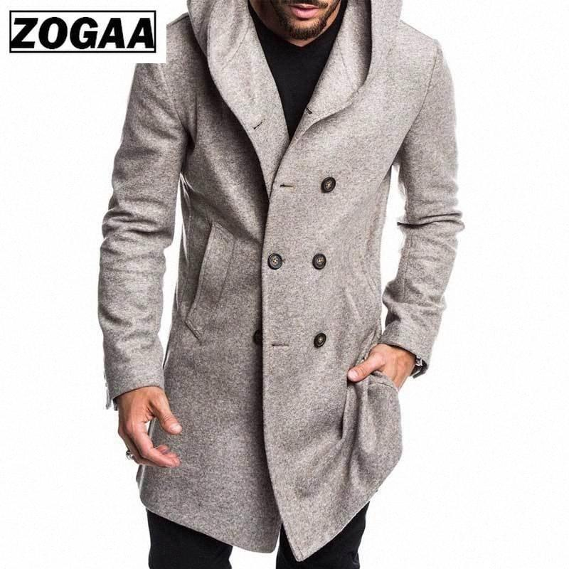 ZOGAA Fashion Mens Trench Coat Jacket Spring Autumn Mens Overcoats Casual Solid Color Woolen Trench Coat for Men Clothing 2019 jI92#