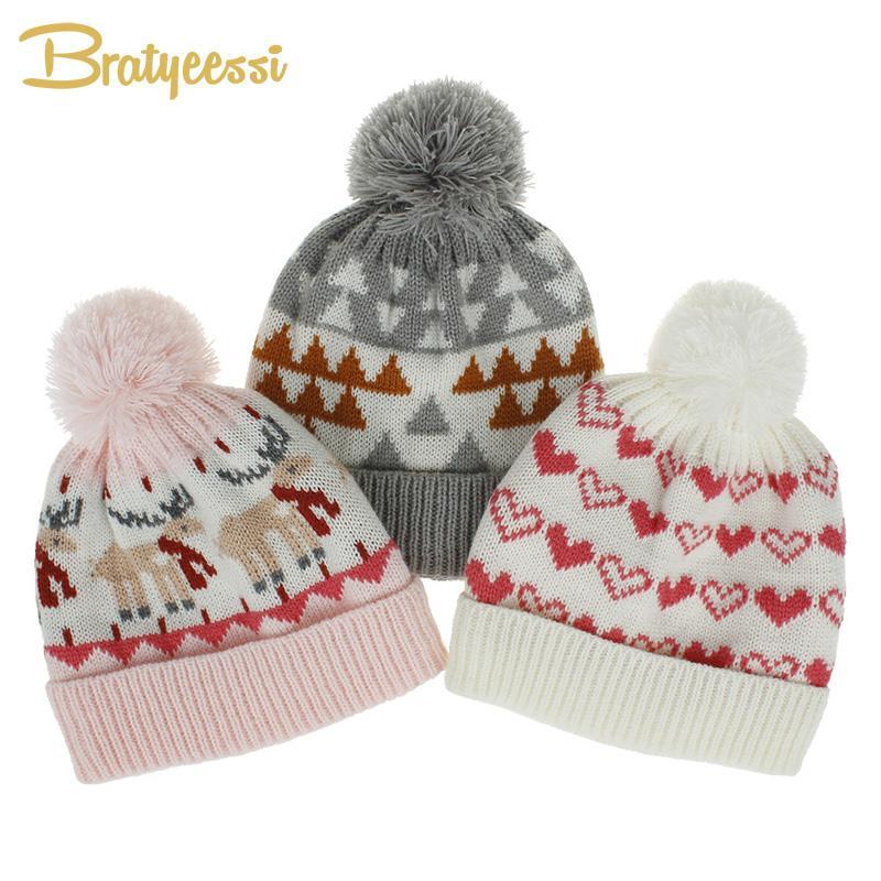 Caps Hats 2021 Зимняя Детская Шляпа для мальчиков Девушки Теплый мультфильм Помпом Дети Beanie Рождественский подарок вязаные хлопчатобумажные накладки