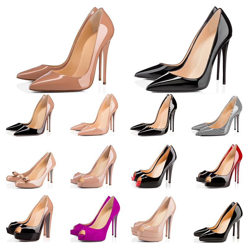 Christian Louboutin  2019 Designer Chaussures Sneakers So Kate Styles Chaussures à Talons Rouges Bas Talons 12CM Cuir Véritable Point Toe Pumps Taille 35-42