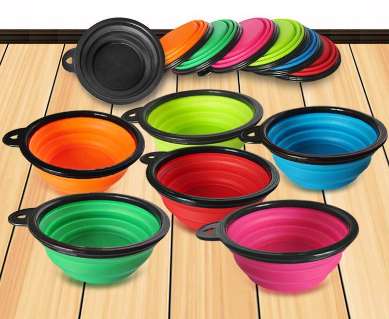 Alimentador del gato hogar pets plegable de silicona del gato del perro, Alimentación viaje Tazón plegable del plato de agua 7 colores a elegir DH0178
