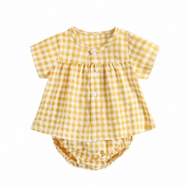 Estate Ragazza appena nata in cotone a quadri Outfit Set Infant Baby Button top + shorts vestiti Suit 2Pcs jLTI #