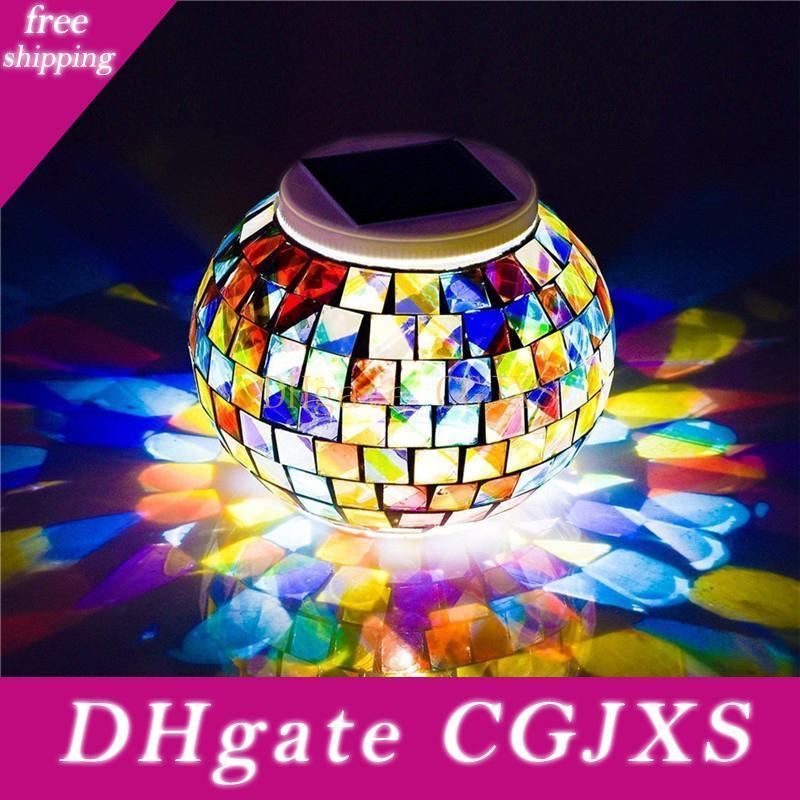 Changing Color Solar Powered Table Lights Mosaic Glass Ball Led Night Light For Patio Garden Table Lamps For Decorations