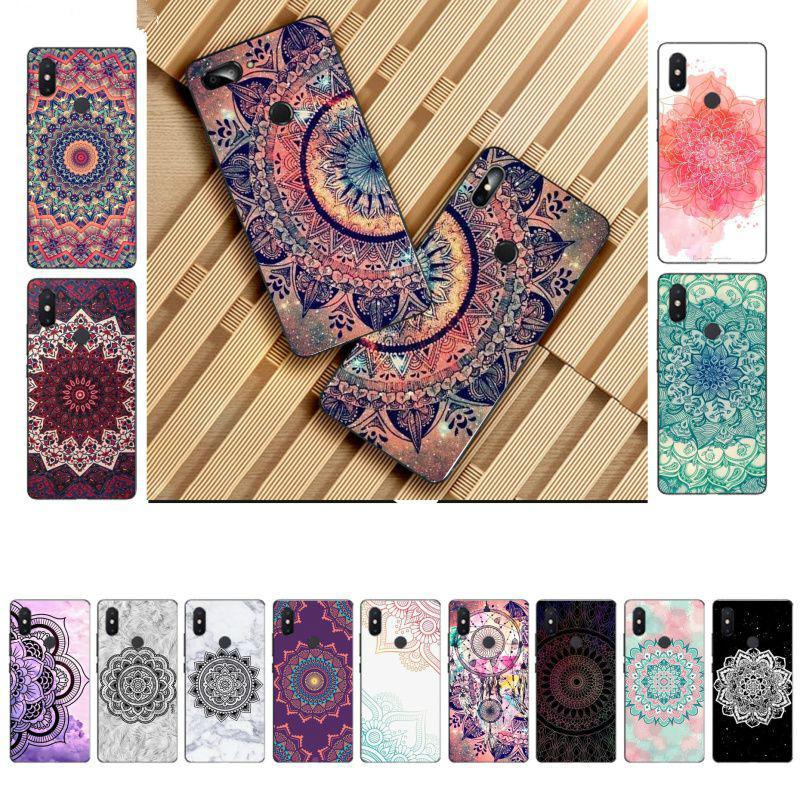 Mandala Çiçek DIY Xiaomi 8 9 se redmi 6 pro 6A 4X 7 nota 5 7 Mobil Kapak için güzel Telefonu Aksesuarları Kılıf Boyalı