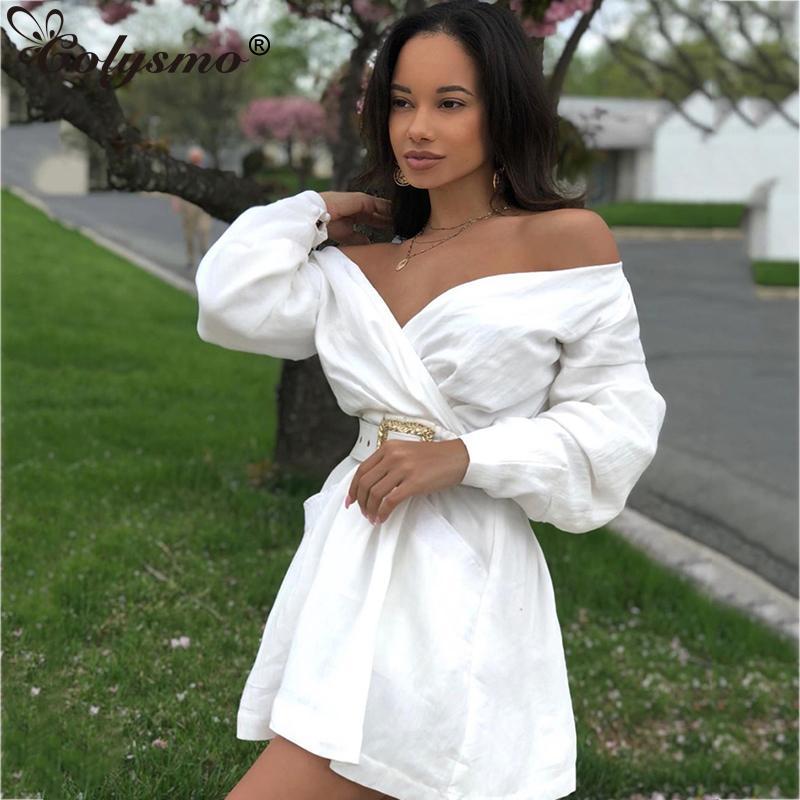 Vestidos casuais colysmo vestido de outono mulheres fora ombro mini branco sexy com cinto v-decote festa clube desgaste a linha elegante 2021